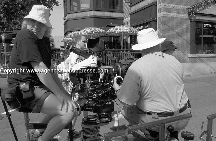 August 19 , 2002, Montreal, Quebec, Canada<br /> <br /> Shooting of  the TV serie about bikers ; THE LAST CHAPTER (Le Dernier Chapitre) <br /> <br /> Mandatory Credit: Photo by Pierre Roussel- Images Distribution. (&copy;) Copyright 2002 by Pierre Roussel <br /> <br /> NOTE Nikon D-1 jpeg opened with Qimage icc profile, saved in Adobe 1998 RGB.