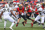 College Park, MD - October 1, 2016: Maryland Terrapins quarterback Perry Hills (11) in action during game between Purdue and Maryland at  Capital One Field at Maryland Stadium in College Park, MD.  (Photo by Elliott Brown/Media Images International)