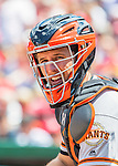 7 August 2016: San Francisco Giants catcher Buster Posey glances back to the dugout during game action against the Washington Nationals at Nationals Park in Washington, DC. The Nationals shut out the Giants 1-0 to take the rubber match of their 3-game series. Mandatory Credit: Ed Wolfstein Photo *** RAW (NEF) Image File Available ***