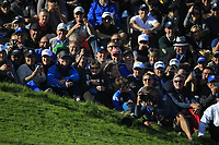 Supporters at the 12th green during Saturday Foursomes at the Ryder Cup, Le Golf National, Ile-de-France, France. 29/09/2018.<br /> Picture Thos Caffrey / Golffile.ie<br /> <br /> All photo usage must carry mandatory copyright credit (© Golffile | Thos Caffrey)