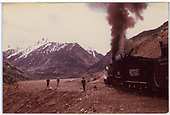 Looking toward Yellow Mountain from Ames Slide with RGS #20 on right with the Rocky Club excursion train.<br /> RGS  Ames Slide, CO  Taken by Maxwell, John W. - 5/30/1947
