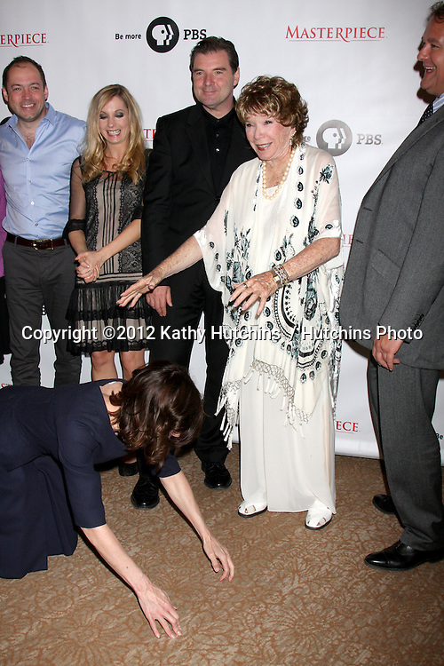 "LOS ANGELES - JUL 21:  Elizabeth McGovern, Shirley MacLaine at a photocall for ""Downton Abby"" at Beverly Hilton Hotel on July 21, 2012 in Beverly Hills, CA"