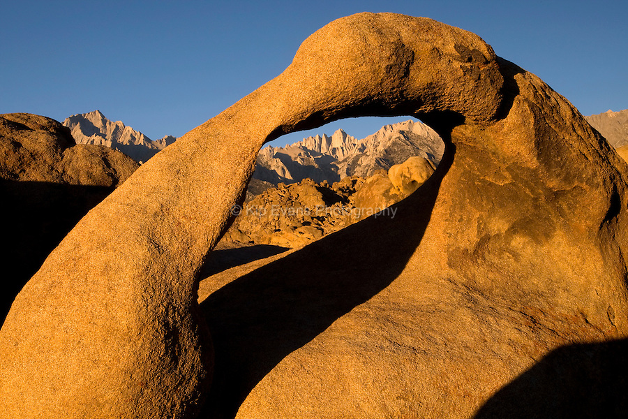 Alabama Hills Arch and Mount Witney at sunrise.