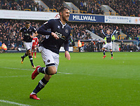 Lee Gregory of Millwall celebrates after he scores the 2nd goal to make it 2-0 during the Sky Bet Championship match between Millwall and Nottingham Forest at The Den, London, England on 30 March 2018. Photo by Alan  Stanford / PRiME Media Images.