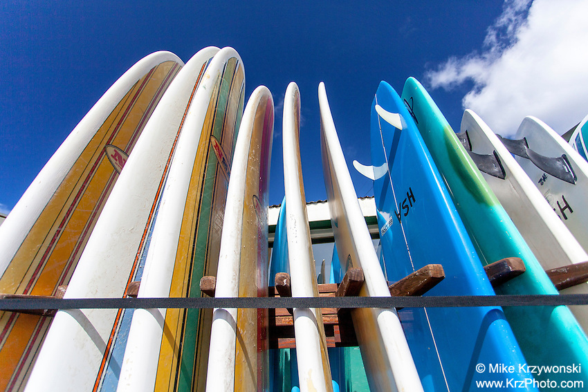 Closeup of surfboards & Stand-up paddleboard rentals in Hanalei, Kauai