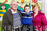 Cillian Sheridan from Tralee with his grand parents Frank and Joan Sheridan from Marion Park at the CBS Grandparents day on Monday.