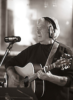 """Jim Lee, composer and singer with the """"Edge of Chaos Orchestra"""" recording at the Blue Coconut Club, Pulborough, West Sussex."""