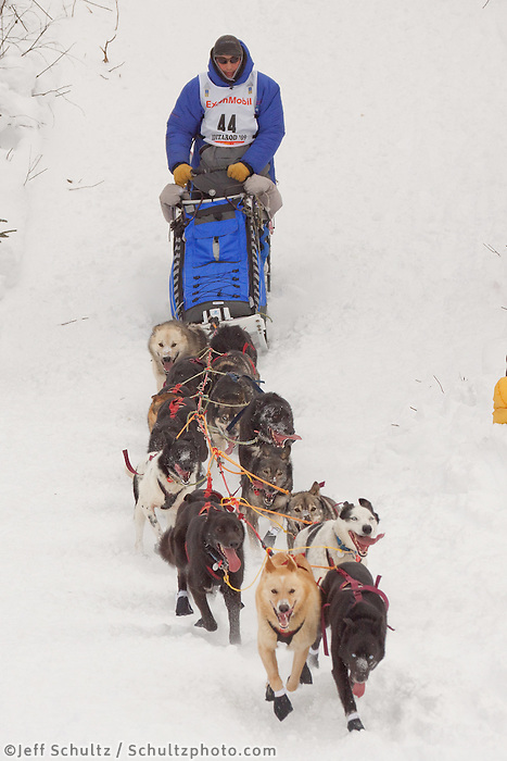 Musher # 44 John Baker at the Restart of the 2009 Iditarod in Willow Alaska.