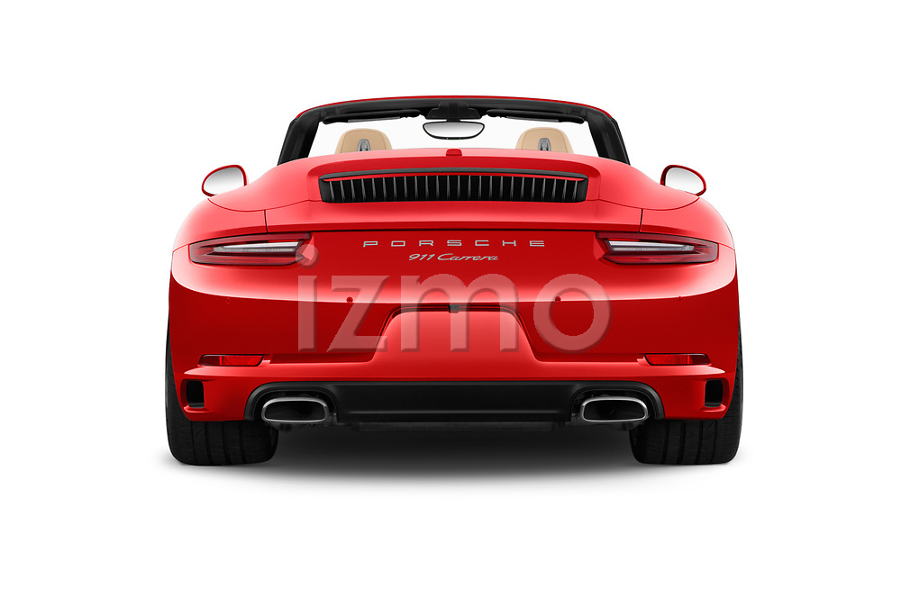 Straight rear view of 2018 Porsche 911 Carrera 2 Door Convertible Rear View  stock images
