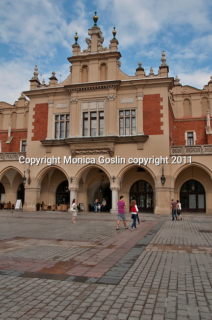 The Renaissance Cloth Hall in Krakow, Poland. The Cloth Hall is at the center for the Main Market Square in Krakow, Poland which is the largest medieval square in Europe and dates back to the 13th century
