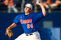 May 31, 2009:  NCAA Division 1 Gainesville Regional:    Florida starting pitcher Alex Panteliodis (24) during regional action at Alfred A. McKethan Stadium on the campus of University of Florida in Gainesville.  The Florida Gators defeated the Miami Hurricanes 16-5 and will advance to the Super Regionals in Gainesville............