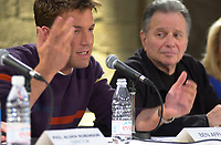 Montreal,April 9, 2001<br /> American actor Ben Affleck speaks at a press conference for the movie `` Sum of all fears ``, currentlly beeing shot in Montreal, CAnada by film maker Phil Alden Robinson, while Producer Mace Neufeld (right) look at him.<br /> <br /> Affleck plays CIA analyst Jack Ryan in the 4th movie  based on a Tom Clancy's novel and produced by Mace Neufeld (right in this photo)<br /> <br /> <br /> NOTE :  color corrected D-1 file, saved asAdobe 1998 RBG Color space