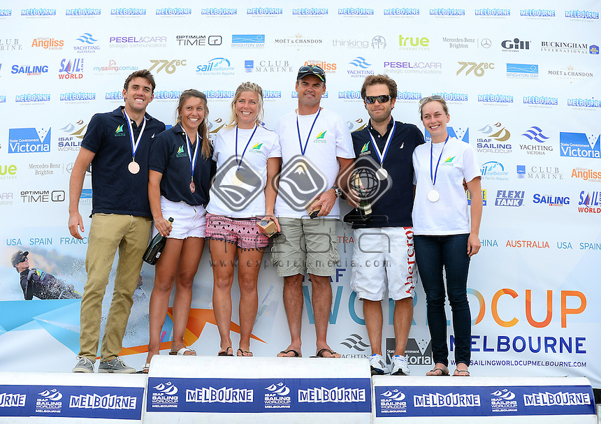 Nacra 17 / Podium (L-R)<br /> 3: Jason WATERHOUSE &amp; Lisa DARMANIN (AUS)<br /> 1: Nina CURTIS &amp; Darren BUNDOCK (AUS)<br /> 2: Euan MCNICOL &amp; Lucinda WHITTY (AUS)<br /> 2013 ISAF Sailing World Cup - Melbourne<br /> Sail Melbourne - The Asia Pacific Regatta<br /> Sandringham Yacht Club, Victoria<br /> December 1st - 8th 2013<br /> &copy; Sport the library / Jeff Crow