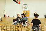 Action from the Wazp Basketball Tralee playing wheelchair basketball in John Mitchel's Sports Complex on Friday.