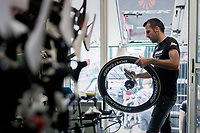 "Team Trek-Segafredo mechanics at work 1 day before the start of the 104th Tour de France 2017 at ""Le Grand Départ"" in Düsseldorf/Germany"