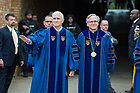May 21, 2017; Commencement speaker Vice President Mike Pence waves as he enters Notre Dame Stadium with University of Notre Dame president Rev. John I. Jenkins, C.S.C., at the beginning of the 2017 Commencement ceremony.  (Photo by Barbara Johnston/University of Notre Dame)