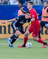 """CARSON, CA - FEBRUARY 15: Javier """"Chicharito"""" Hernandez #14 of the Los Angeles Galaxy dribbles with the ball during a game between Toronto FC and Los Angeles Galaxy at Dignity Health Sports Park on February 15, 2020 in Carson, California."""