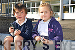 On their first days in Junior infants at Flemby NS Daniel Roche and Grace Rola enjoyed a Nature walk on Monday