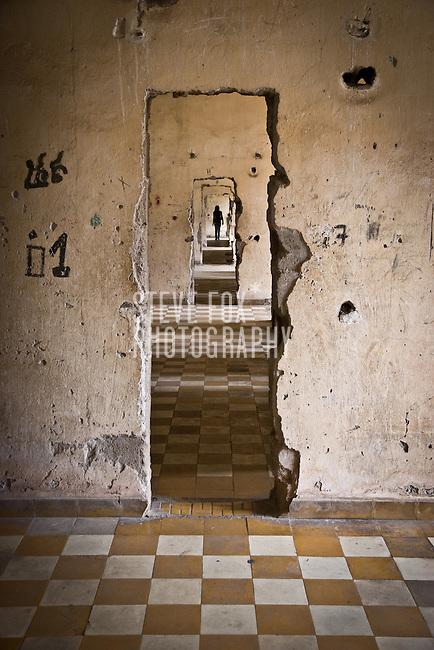 Improvised corridor at Tuol Sleng Genocide Museum, Phnom Penh, Cambodia