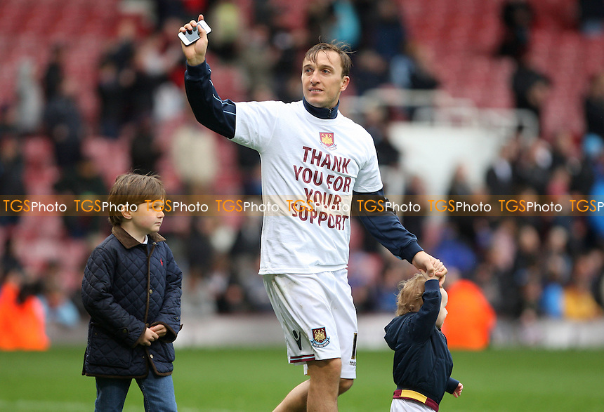 Mark Noble of West Ham during the after match lap of the pitch to acknowledge the fans - West Ham United vs Hull City, npower Championship at Upton Park, West Ham - 28/04/12 - MANDATORY CREDIT: Rob Newell/TGSPHOTO - Self billing applies where appropriate - 0845 094 6026 - contact@tgsphoto.co.uk - NO UNPAID USE..