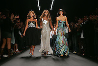 Beyoncé Knowles, Naomi Campbell and Veronica Webb walk the runway during the Fashion for Relief show in the tents at Bryant Park on the last day of Fashion Week. The one-time-only show, which was conceived by Campbell, brought together 82 looks from 42 different brands - from Baby Phat to Burberry - modeled by celebrities and catwalkers, to benefit the victims of Hurricane Katrina. The $100 ticket fee went straight to AmeriCares.