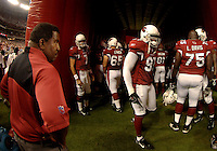 Aug. 31, 2006; Glendale, AZ, USA; Arizona Cardinals head coach Dennis Green with his team prior to their game against the Denver Broncos at Cardinals Stadium in Glendale, AZ. Mandatory Credit: Mark J. Rebilas