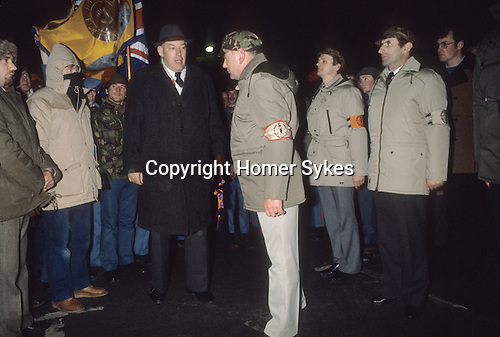Rev Ian Paisley Northern Ireland with members at 3rd Force meeting at Newtownardes for Loyalist Day of Action. 1980s  1981