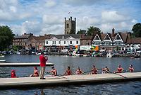 Henley-on-Thames. United Kingdom.  Ohio State University, boating for their heat in the Remenham hallenge Club. 2017 Henley Royal Regatta, Henley Reach, River Thames. <br /> <br /> <br /> 10:34:30  Friday  30/06/2017   <br /> <br /> [Mandatory Credit. Peter SPURRIER/Intersport Image].riday  30/06/2017   <br /> <br /> [Mandatory Credit. Peter SPURRIER/Intersport Images.2017 Henley Royal Regatta, Henley Reach, River Thames. <br /> <br /> 10:36:14  Friday  30/06/2017   <br /> <br /> [Mandatory Credit. Peter SPURRIER/Intersport Images.