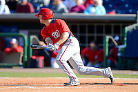 Washington Nationals third baseman Cutter Dykstra #16 during a Spring Training game against the Philadelphia Phillies at Bright House Field on March 6, 2013 in Clearwater, Florida.  Philadelphia defeated Washington 6-3.  (Mike Janes/Four Seam Images)