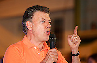 Bucaramanga, Colombia. 1st June 2014. The President of Colombia and candidate, Juan Manuel Santos, speaks to his supporters after a walk in Bucaramanga, Santander, during his tour of the country for re-election in runoff. Photo by SANTOS Campaign/Daniel Munoz / VIEWpress TO EDITORS : THIS PICTURE WAS PROVIDED BY A THIRD PARTY.  THIS PICTURE IS DISTRIBUTED EXACTLY AS RECEIVED BY VIEWpress, AS A SERVICE TO CLIENTS