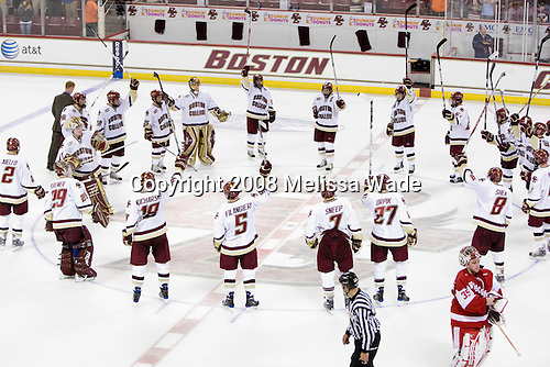 The Boston College Eagles defeated the University of Wisconsin Badgers 5-4 on Friday, October 10, 2008 after raising their 2008 National Championship banner at Kelley Rink in Conte Forum in Chestnut Hill, Massachusetts.