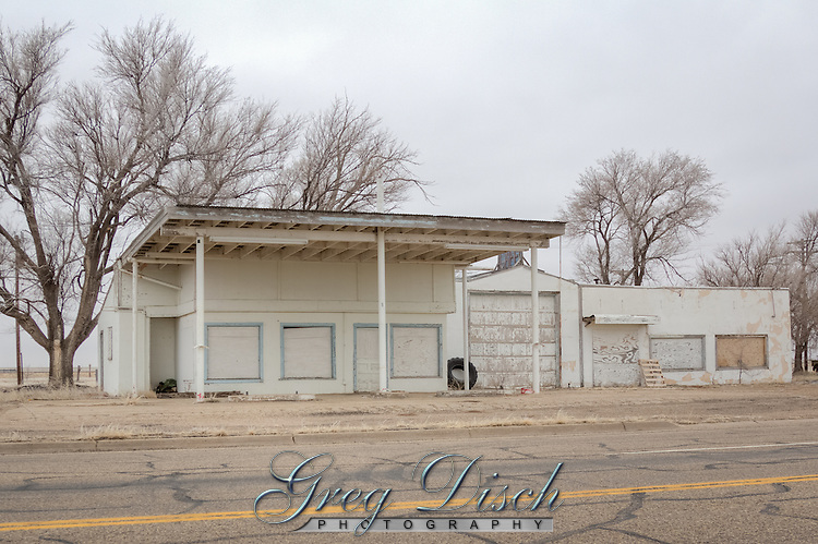 Abandoned Gas Station and Cafe in Adrian Texas on Route 66.
