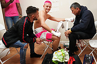 Anton Haskins (C) and father Lee Haskins (L) in the dressing room during a Boxing Show at Whitchurch Leisure Centre on 5th October 2019. Lee Haskins and his son Anton Haskins both appeared on the same card, Anton making his professional debut.