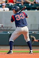 Ryan Lavarnway #33 of the Salem Red Sox at bat against the Winston-Salem Dash at  BB&T Ballpark June 27, 2010, in Winston-Salem, North Carolina.  Photo by Brian Westerholt / Four Seam Images