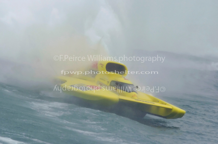 """J. W. Myers, U-8 """"Llumar"""" goes for a rough ride in the Roostertail Turn."""