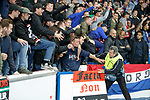19.09.2019 Rangers v Feyenoord: Feyenoord fans reacting to a Rangers fan in an Ajax shirt