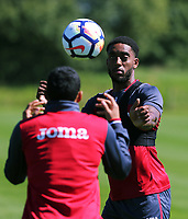Pictured: Leroy Fer heads the ball. Wednesday 05 July 2017<br /> Re: Swansea City FC training at Fairwood training ground, UK