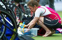 25 MAY 2014 - BRIGG, GBR - Sharon Colley (GBR) of Great Britain prepares in transition for the start of the World Quadrathlon Federation 2014 Middle Distance World Championships at the Brigg Bomber at Brigg, Lincolnshire in Great Britain (PHOTO COPYRIGHT © 2014 NIGEL FARROW, ALL RIGHTS RESERVED)