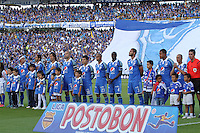 BOGOTA -COLOMBIA. 03-05-2014. Formacion de  Millonarios   contra  La Equidad  partido de vuelta por los Cuartos de Final  de La liga Postobon  disputado en el estadio Nemesio Camacho El Campin. / Team of Millonarios  against  of La Equidad  game around the Quarter Finals of the Postobon league match at the Estadio Nemesio Camacho El Campin. Photo: VizzorImage/ Felipe Caicedo / Staff