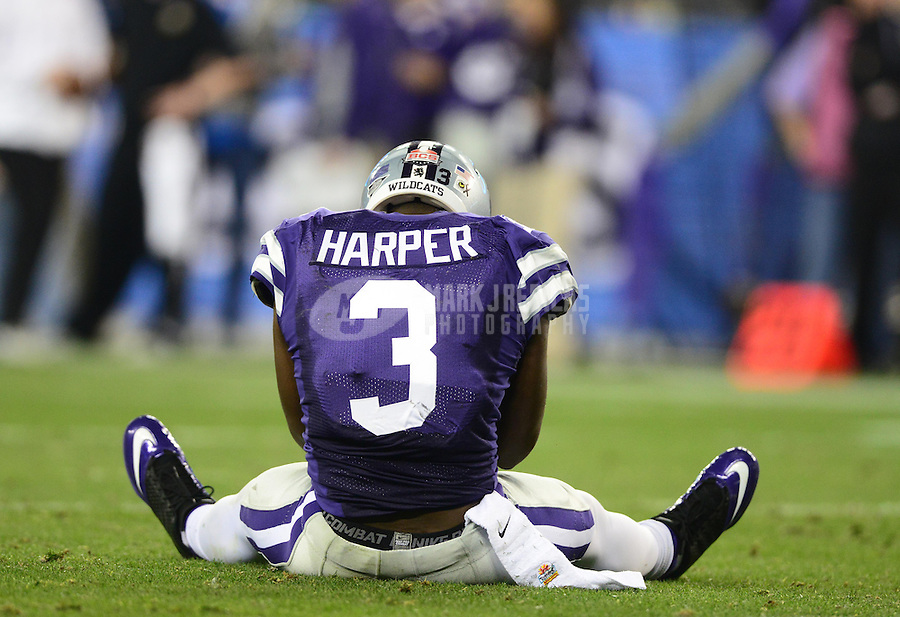 Jan. 3, 2013; Glendale, AZ, USA: Kansas State Wildcats wide receiver Chris Harper (3) reacts after dropping a pass in the end zone against the Oregon Ducks during the 2013 Fiesta Bowl at University of Phoenix Stadium. Oregon defeated Kansas State 35-17. Mandatory Credit: Mark J. Rebilas-