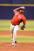 Boston Red Sox pitcher Jalen Williams (80) during an Instructional League game against the Tampa Bay Rays on September 25, 2014 at Tropicana Field in St. Petersburg, Florida.  (Mike Janes/Four Seam Images)