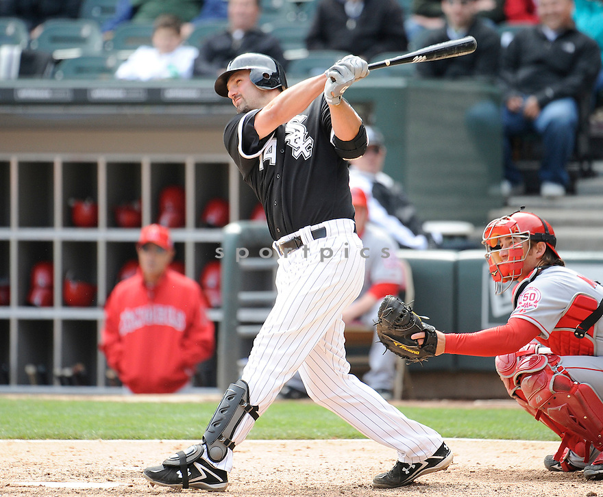 PAUL KONERKO, of the Chicago White Sox, in action during the Sox game against the Los Angeles Angels, on April 17, 2011 at US Cellular Field in Chicago, Illinois.  The Angels beat the Sox 4-2.