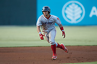 Rafael Marchan (13) of the Lakewood BlueClaws hustles towards third base against the Kannapolis Intimidators at Kannapolis Intimidators Stadium on July 18, 2019 in Kannapolis, North Carolina. The Intimidators defeated the BlueClaws 7-1. (Brian Westerholt/Four Seam Images)