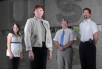 The U.S. Geological Survey has an active mentoring system. Pamela R. Malam, Associate Director for Human Capital (front and center), was mentored by Jessica Alverez, on the left, and Tom Wood, to the immediate right. She is currently mentoring Stephen Zehl, an Information Technology Specialist, on far right. Wednesday, June 20, 2007. (James J. Lee / Times Staff)