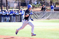 ELON, NC - MARCH 1: Gavin Baker #18 of Indiana State University runs to first base after hitting the ball during a game between Indiana State and Elon at Walter C. Latham Park on March 1, 2020 in Elon, North Carolina.
