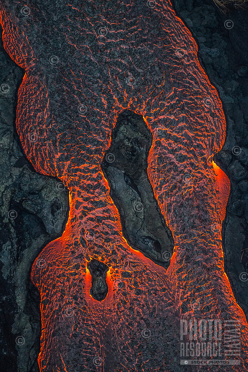 June 2018: An enormous lava river in the Puna district of Hawai'i Island; its source is in Leilani Estates in another part of the district.