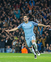 Ilkay Gundogan of Manchester City celebrates his 2nd goal during the UEFA Champions League match between Manchester City and Barcelona at the Etihad Stadium, Manchester, England on 1 November 2016. Photo by Andy Rowland / PRiME Media Images.