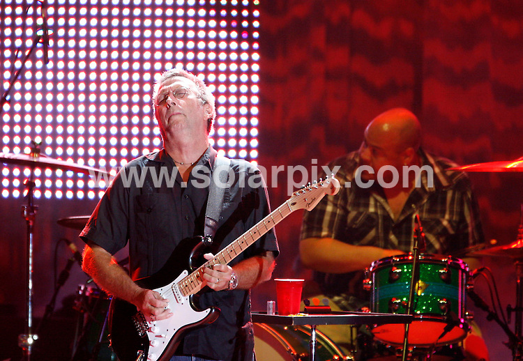 **ALL ROUND PICTURES FROM SOLARPIX.COM**.**SYNDICATION RIGHTS FOR UK AND SPAIN ONLY**.The British rock star Eric Clapton during his concert in the arena in the city of Leipzig in Germany. ..JOB REF:7010-CPR/Sebastian Willnow.        DATE:12_08_08.**MUST CREDIT SOLARPIX.COM OR DOUBLE FEE WILL BE CHARGED* *UNDER NO CIRCUMSTANCES IS THIS IMAGE TO BE REPRODUCED FOR ANY ONLINE EDITION WITHOUT PRIOR PERMISSION*
