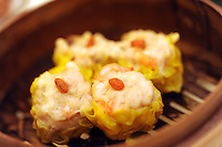 Steamed pork dumpling with shrimp that cost 20 HK$ in Tim Ho Wan the cheapest Michelin starred restaurant in the world, Hong Kong..17-Jul-11..Photo by Richard Jones......