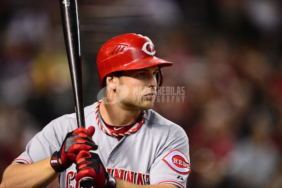 Aug. 28, 2012; Phoenix, AZ, USA: Cincinnati Reds outfielder Chris Heisey against the Arizona Diamondbacks at Chase Field. Mandatory Credit: Mark J. Rebilas-